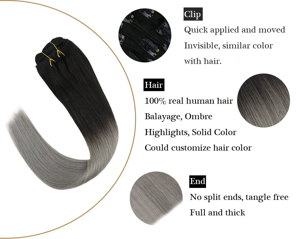 Ombre Clip in Natural Hair Extensions Balayage  Black with Grey