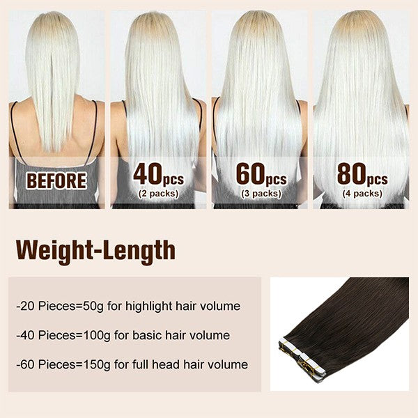 tape in real human hair extensions weight-length