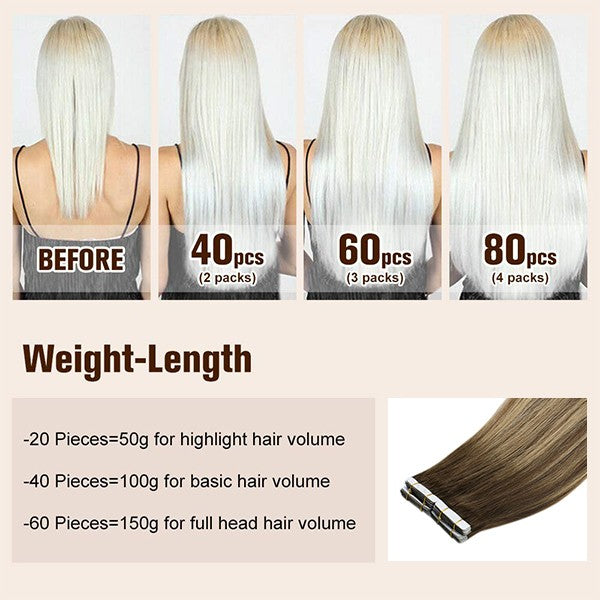 100% remy hair tape in extensions weight-length