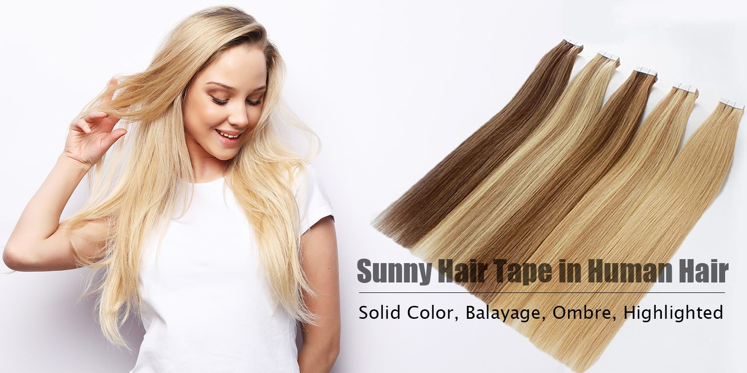 virgin hair tape in human hair extensions grey blonde  hightlights