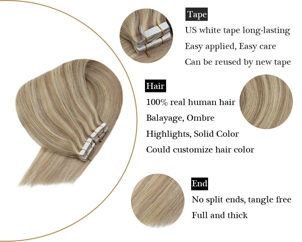 Ash Blonde Highlights 100% Human Tape in Hair Extensions