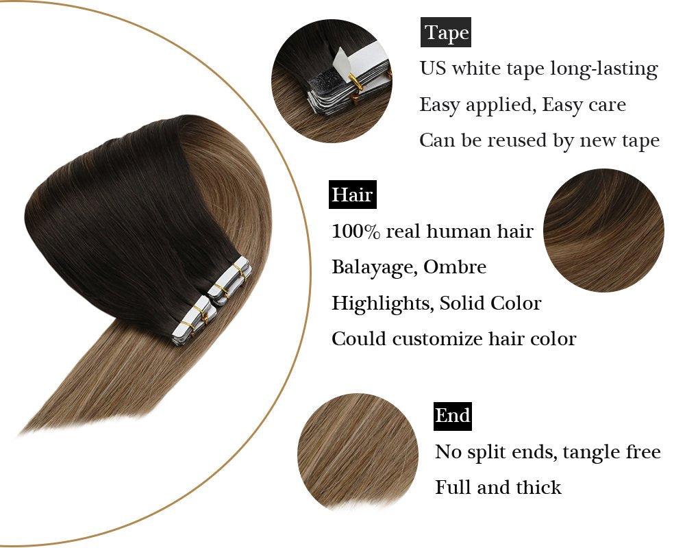 Tape in 100% Human Hair Extensions Balayage Darkest Brown To Ash Blonde