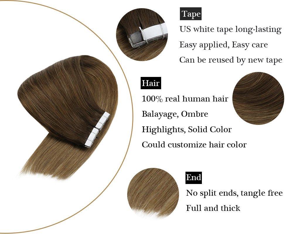 Balayage Brown Mixed Dark Ash Blonde Human Tape in Hair Extensions Skin Weft