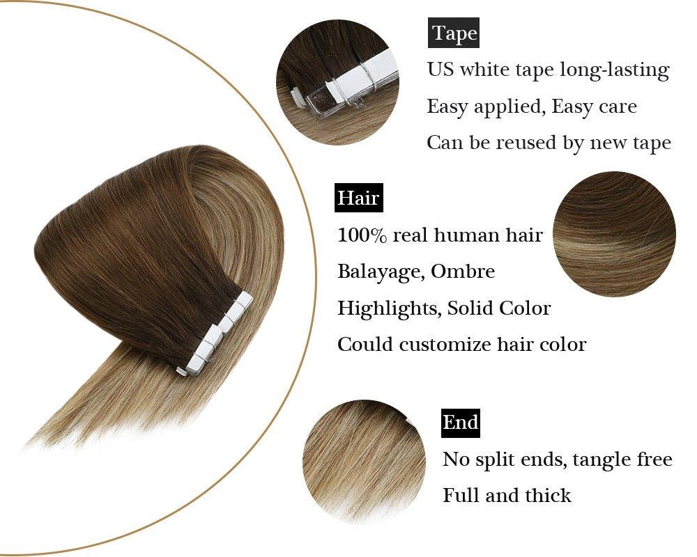 Human Tape in  100% Real Hair Extensions Balayage Brown Mixed Medium Blonde