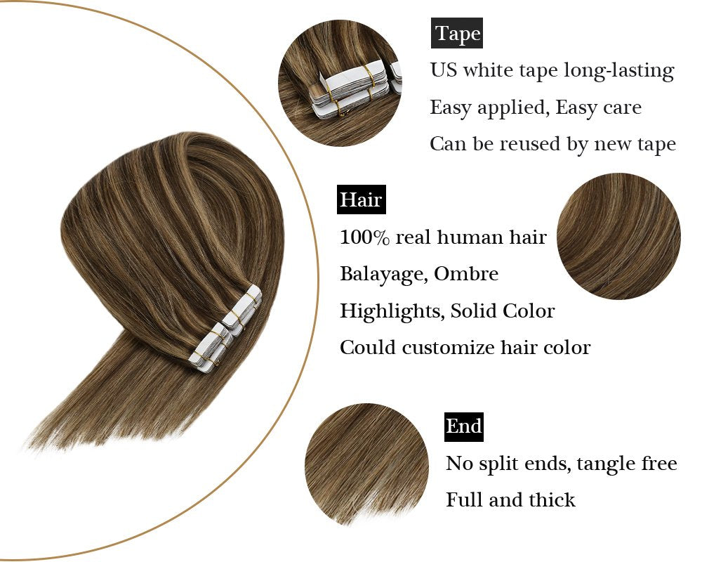 Remy Tape in Hair ExtensionsSkin Weft Brown with Blonde Highlights