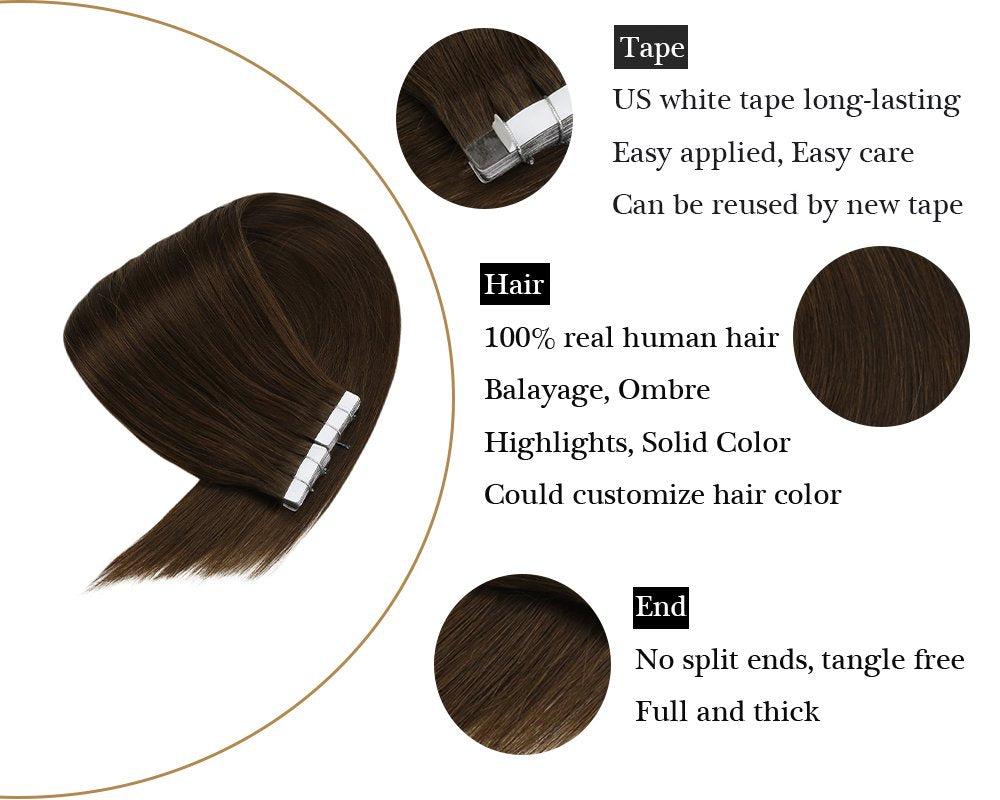 Chocolate Brown Human Tape in Hair Extensions Dark Brown