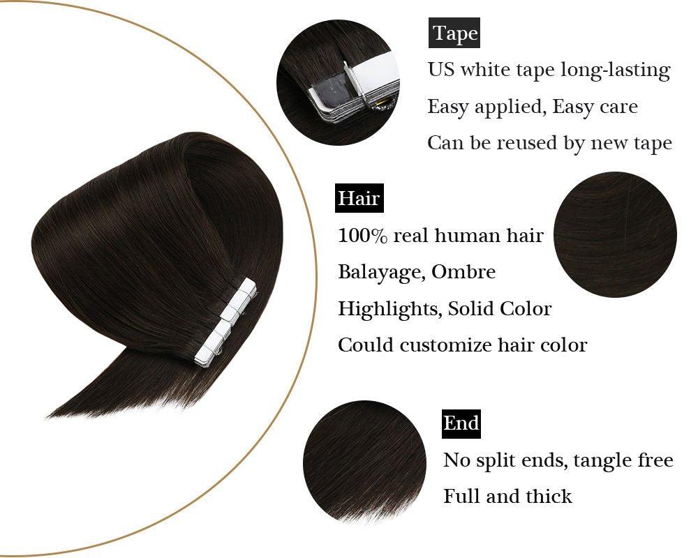 Darkest Brown Human Tape in 100% Hair Extensions