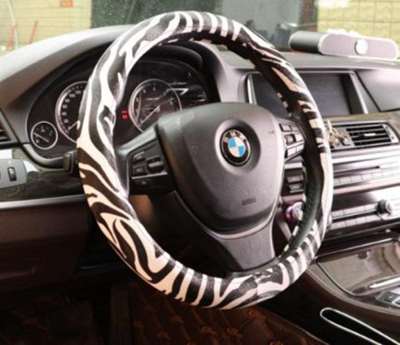 Zebra Print Universal Cute Car Steering Wheel Covers-M79