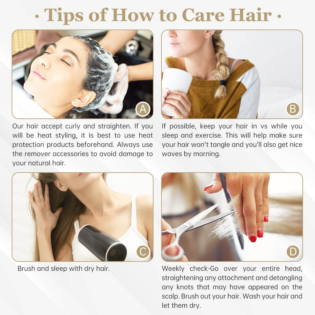 Tip of How to care hair don't blow dry don't brush wet hair sleep with braid hair and so on