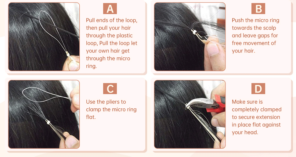 Apply micro loop hair