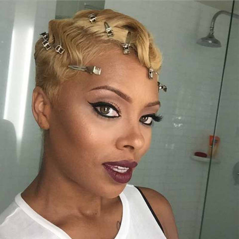 short brown pixie cut hair for black women