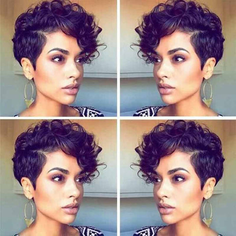 side part curly pixie cut for black women