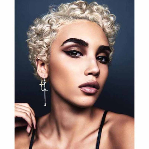 short blonde curly pixie cut for african ameircan