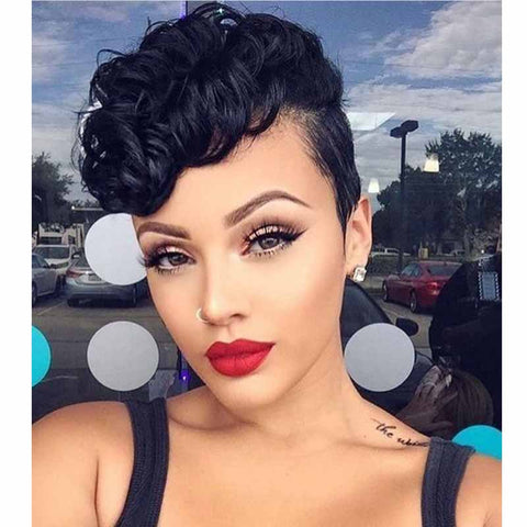black curly human hair pixie cut for black women