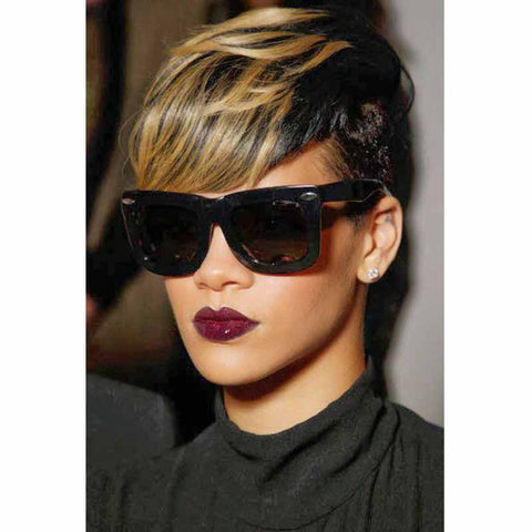 black with highlight pixie cut for black women