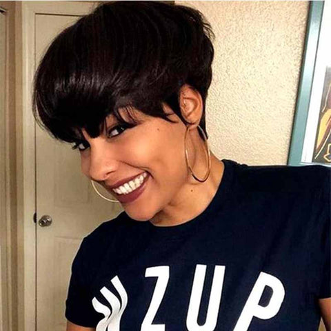 black straight pixie cut for black women