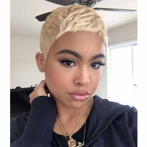 natural blonde pixie cut hairstyle for black women