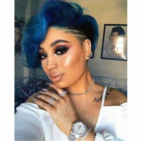 ombre blue pixie cut hairstyles for african american