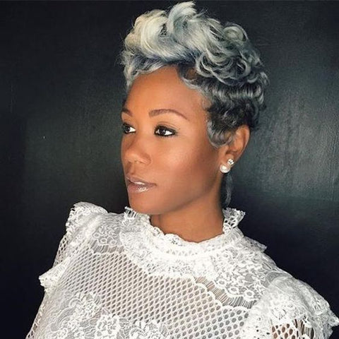 grey ombre pixie cut curly hair for black women