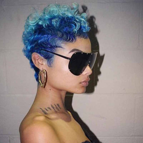 ombre blue curly pixie cut for black women