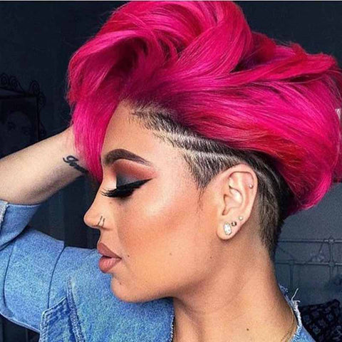 pink wave pixie cut for black women