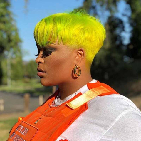 yellow pixie cut for black women