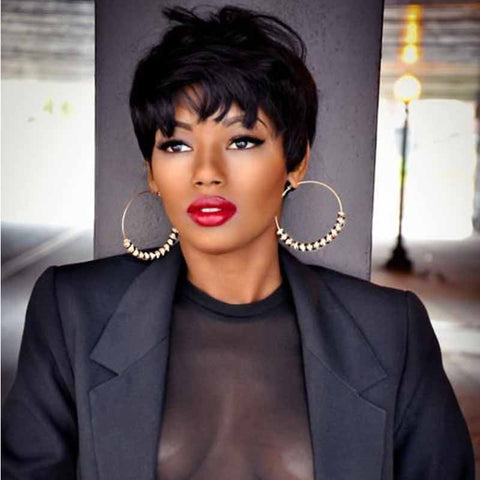 short black pixie cut straight for black women