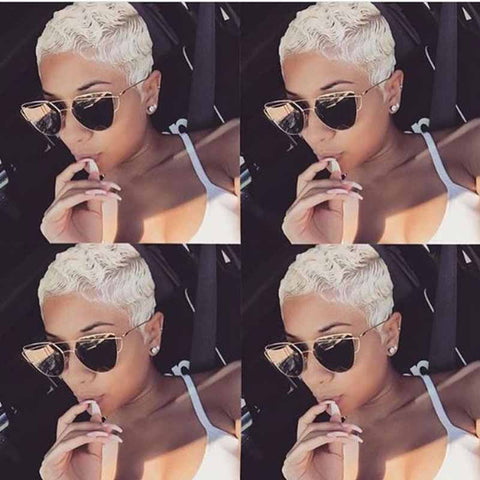 white pixie cut lace wig for black women