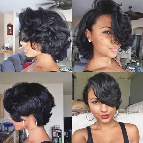 black pixie cut curly wig for black women