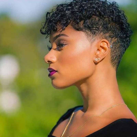 black curly pixie cut hair style for african american
