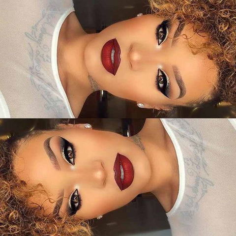 brown curly pixie cut lace wig for black women