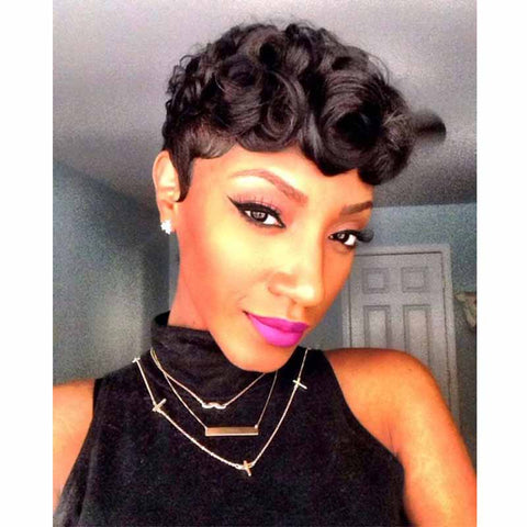 short curly pixie cut human hair for black women