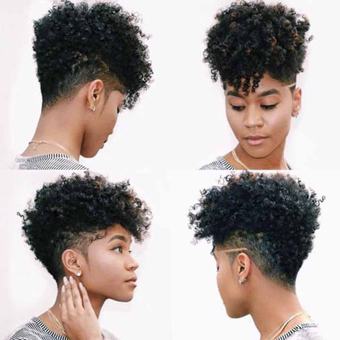 black curly pixie cut lace wig for black women