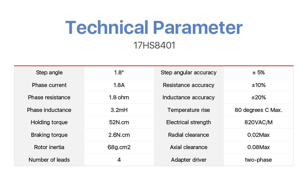 Cloudray Stepper Motor Nema17  Step Angle 1.8 Degree