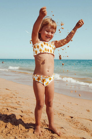 YELLOW MINI SMOCKED BIKINI FOR TODDLER GIRLS AND GIRLS