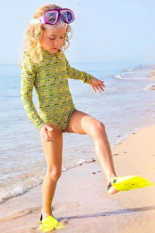Long sleeve high collar green swimsuit for kids