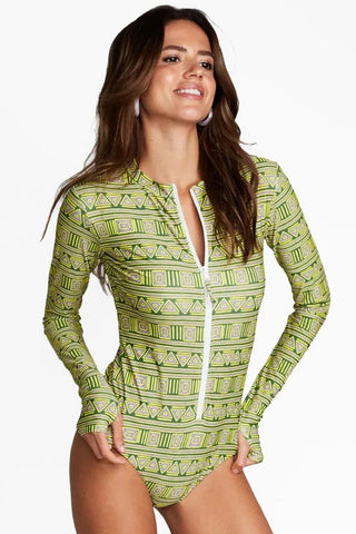 Long sleeve high collar green swimsuit for Women