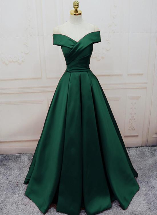 Green Satin Off Shoulder Lace-Up Formal Gown