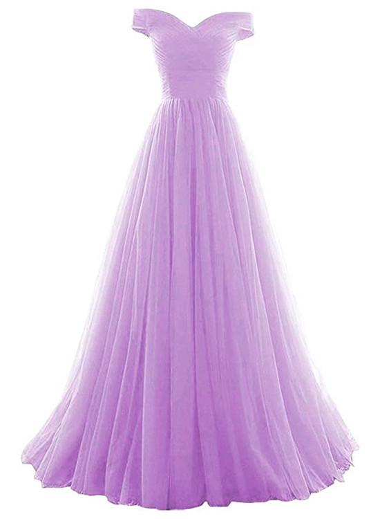 Beautiful Lavender Tulle Off Shoulder Long Formal Dress