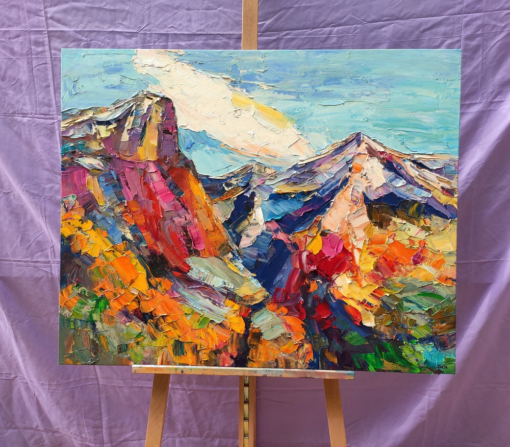 Abstract Landscape Art, Canvas Wall Art, Custom Landscape Oil Painting, Mountain Landscape Painting